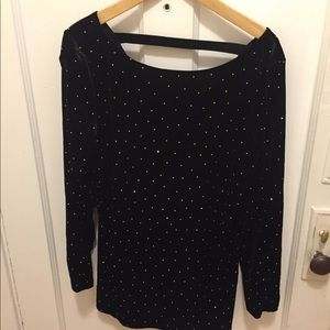 Cache Black Velvet and Gold Long sleeve Shirt